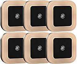 Sycees 0.5W Plug-in LED Night Light Lamp with Light Sensor, Warm White, 6-Pack, Black