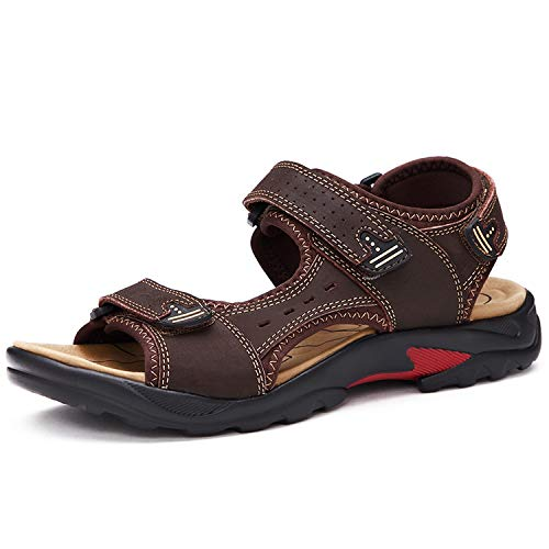 2019 Brand Men Summer Fashion Sandals Beach Shoes Genuine Leather Comfortable Casual Shoes,0569Brown,10 -