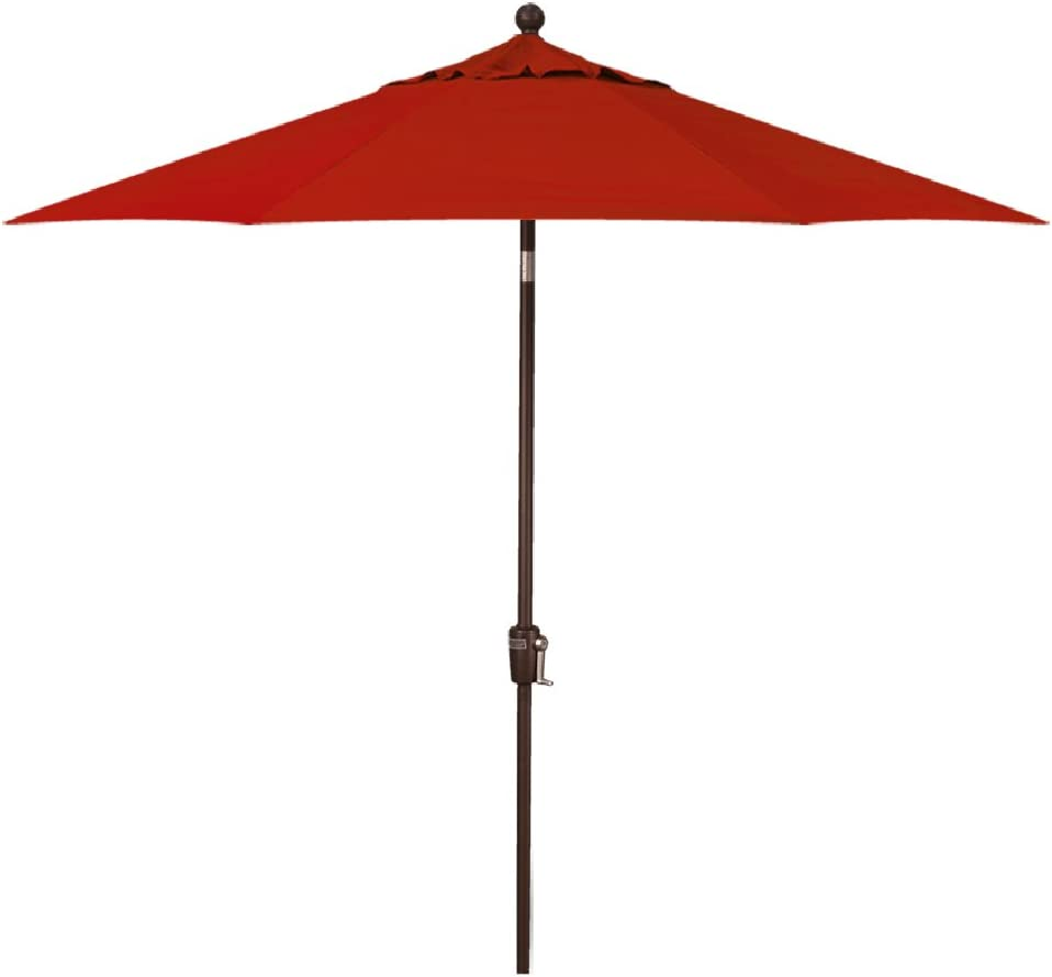 9-Foot Treasure Garden (Model 810) Deluxe Auto-Tilt Market Umbrella with Bronze Frame and Obravia2 Fabric: Red