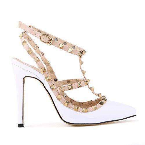 Loslandifen Womens Stiletto High Heels Rivet Ankle Strap - In Malls Pa
