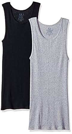 Fruit of The Loom Men's A-Shirt, Black/Grey, Large(Pack of 2)