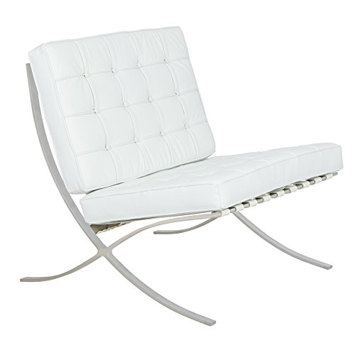 Barcelona Sofa (LeisureMod Bellefonte Style Modern Leather Pavilion Chair, White)