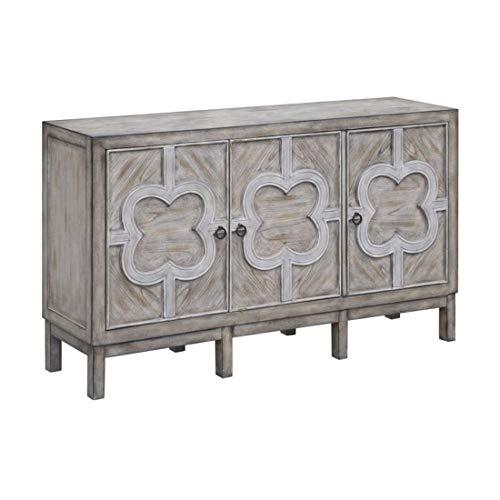 Crestview Collection Buckingham Grey Wash and White Fretwork Overlay 3-Door Cabinet