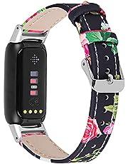Chofit Bandjes compatibel met Fitbit Luxe riem, bloemenlederen band bedrukking polsbandarmband, verstelbare vervanging stijlvolle polsbandjes voor luxe activiteitstracker