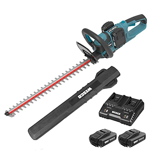 WESCO Cordless Hedge Trimmer, Electric Hedge Cutter with 2x 18V Batteries, 610 mm Blade Length, 19mm Tooth Opening, Safety Switch, Anti-vibration Design, Rotating Rear Handle, Incl Battery And Charger