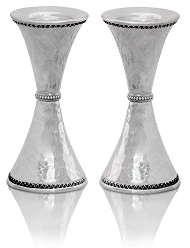 Nadav Art Sterling silver Hammered Candlesticks with delicate filigree Modern Judaica gift for Jewish family, Wedding gift