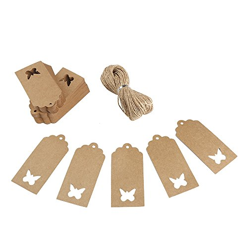 Butterfly Tags - Decora 120pcs Thank You Gift Tags Bonbonniere Tags with 66 Feet Natural Jute Twine String for Easter Gift Wrapping and Decoration(Brown Butterfly)