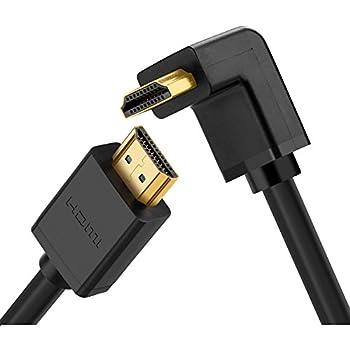 Ugreen Cable HDMI 270 Grado 4K Resolucion Alta Velocidad con Ethernet ángulo Recto, Compatible con 3D y Canal de Retorno de Audio para Dispositivo HDMI Blu-Ray, Televisiones 3D, Roku, Nintendo Switch, Xbox 360, PS4, PS3 y Apple TV, Entre Otros (6ft/2M)
