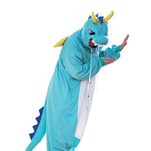Dragon Costumes For Adults (WOTOGOLD Animal Cosplay Costume Dragon Unisex Adult Pajamas Blue,X-Large)