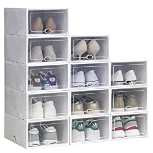 IRONLAND Shoe Storage Boxes 12 Pack Clear Plastic Stackable