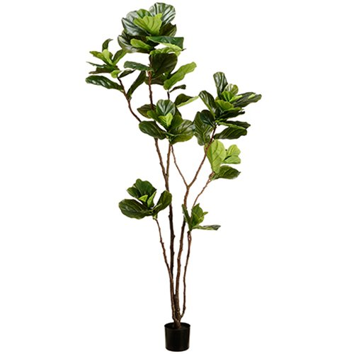 7' Fiddle Leaf Fig Silk Tree w/Pot -Green (pack of 2)