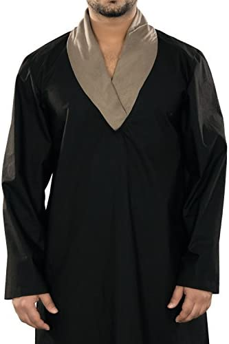 MyBatua Black Cotton Galabiyya,Arab Thobe,Dishdash,Men's Clothing,Prayer Clothes GM-022