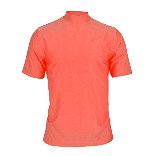 - Monterey Club Mens Dry Swing Mini Popcorn Texture Solid Mock Neck Shirt #3310 (Spice, Large)