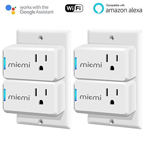 Price comparison product image Smart Wifi Plug Compatible with Amazon Alexa Echo, No Hub Required, Smart home WiFi Wireless Energy Save, Remote Control Light Switch Socket, White MICMI (Smart Wifi Plug 4pack)