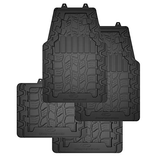 Cooper Tires Discoverer AT3TM All Weather Rubber Floor Mat, 4-Piece, Ridge Border Design, Trim-To-Fit, Heavy Duty, Waterproof, Fit For Most Cars, Trucks, SUVs and Vans (Black)