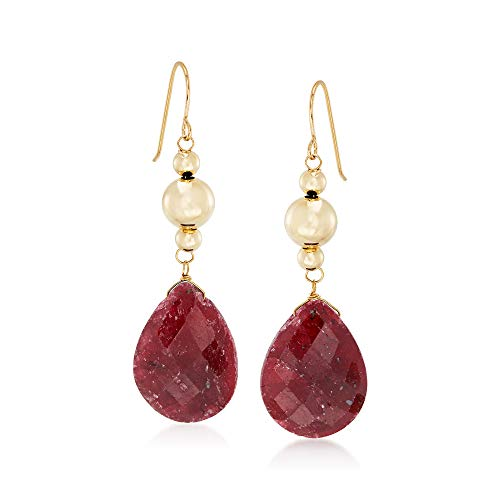 (Ross-Simons 20.00 ct. t.w. Ruby Drop Earrings in 14kt Yellow Gold)