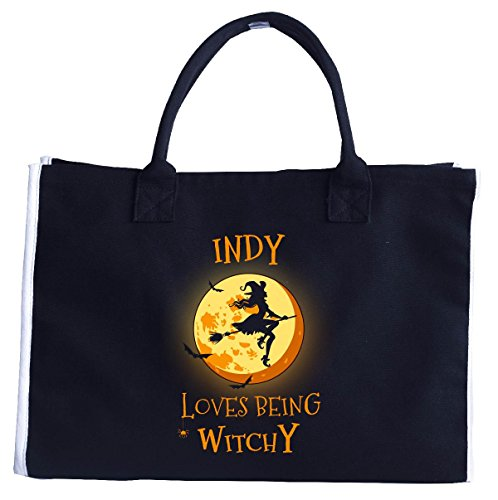 Indy Loves Being Witchy. Halloween Gift - Tote Bag