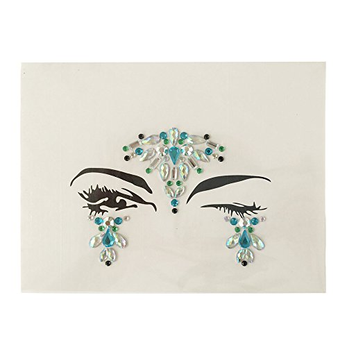Colorful Bindi, Lotus.flower Long Lasting Waterproof Temporary Rhinestone Gem Face Jewel Stickers Eyes Tattoo Transfer Eyeshadow Face Jewels (H)
