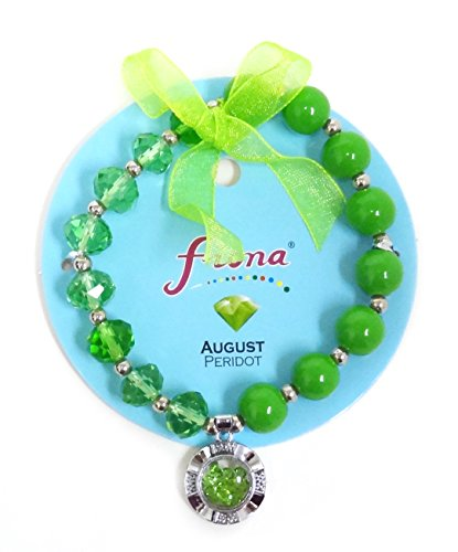 Linpeng Fiona Crystal Spinner Lucky Charm Birthstone Color Stretch Bracelets_August/Peridot_Pup-31-8