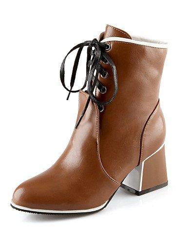 bleu Talon Bout Femme Bout Similicuir Chaussons Bottes pour Chaussures Chunky Femme Citior Pointu Bottes pour fermé zqwxZv5