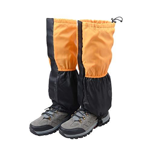 TRIWONDER Fleece-Lined Snow Leg Gaiters Waterproof Boot Gators Hiking Gaiters for Kids Men Women Lightweight Walking Climbing Hunting Cycling Leggings Cover (Orange&Black)