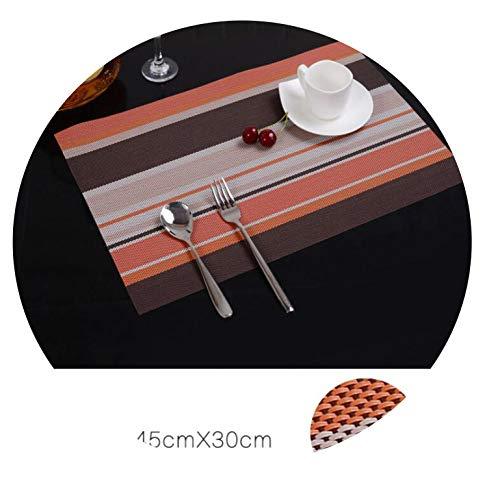 (Little Happiness- 2/4/6pieces Table Mat PVC Strips Heat Protection Table Mat Placemats Kitchen Table Mats,Orange,4Pieces)