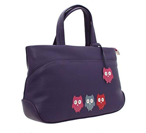 Mala KYOTO colección cuero suave agarre bolso con correa para el hombro 747_45 púrpura morado