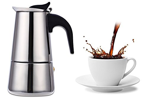 100 Ml Pot - Stainless Steel Moka Coffee Maker Mocha Espresso Latte Stovetop Filter Coffee Pot Percolator Tools Easy Clean for Home Office (100ML)