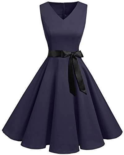 Bridesmay Women's V-Neck Audrey Hepburn 50s Vintage Elegant Floral Rockabilly Swing Cocktail Party Dress Navy L