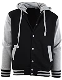 Mens Baseball Varsity Jacket with Detachable Hoodie