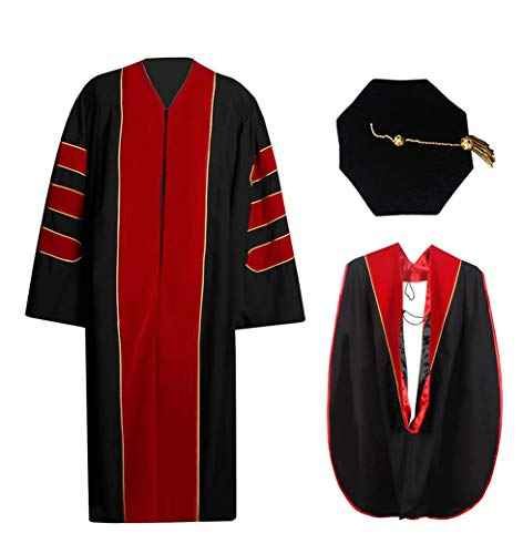 Deluxe Doctoral Graduation Gown Hood and 8-Sided Tam Package Black Red