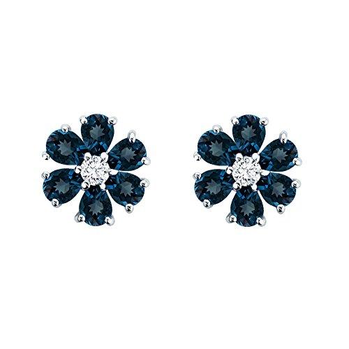 Blue Topaz Flower (Solid Sterling Silver Pear-Shaped London Blue Topaz Flower Earrings for Women)