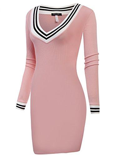 Acevog Col En V Manches Longues Tricot De Base Pull Moulante Mini Robe De Rose Des Femmes