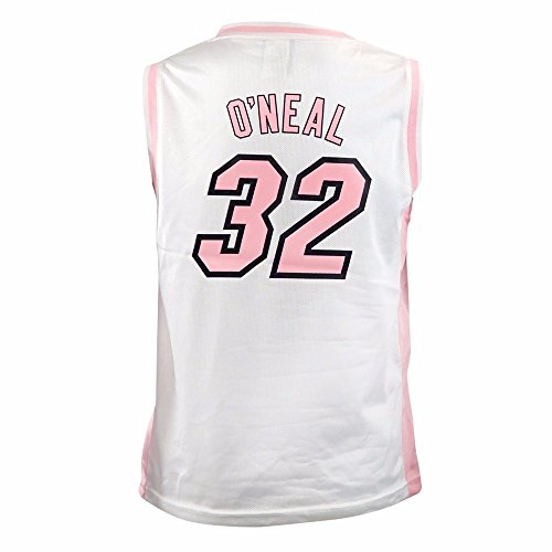 (adidas Shaquille O'Neal Miami Heat NBA White Official Fan Fashion Pink Basketball Jersey for Girls (XL))