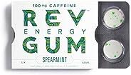 Rev Gum Caffeine Energy Gum | 100mg of Caffeine per Gem | Spearmint Sugar Free Caffeinated Mint Chewing Gum -