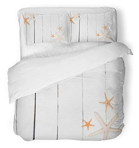 Emvency 3 Piece Duvet Cover Set Breathable Brushed Microfiber Fabric Orange Animal Starfish on White Wood Close Copyspace Corner Marine Mix Nobody Object Bedding with 2 Pillow Covers Full/Queen Size