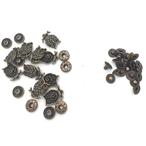Long Shank Bronze - 10 Sets 14mm Metal Snap Fasteners Press Stud Rounded Sewing Rivet Buttons Clothing Leather Craft DIY Bronze