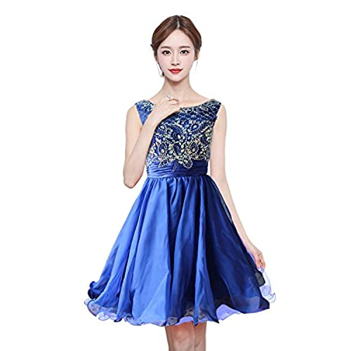 Anlin Short Tiered Prom Dresses Open Back Sequins Homecoming Dresses Blue US8