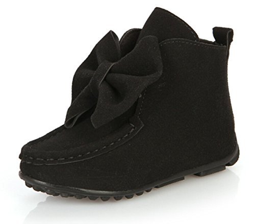 Bumud Little Girl's Bow Suede Ankle Boot Winter Flat Shoes (Toddler/Little Kid) (9 M US Toddler, Black) - Bow Ankle Boot