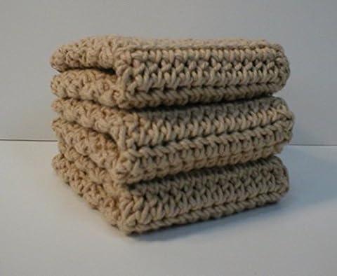 Handmade Crochet Cotton Washcloths Dishcloths, Set of 3 Beige - Homemade Crochet