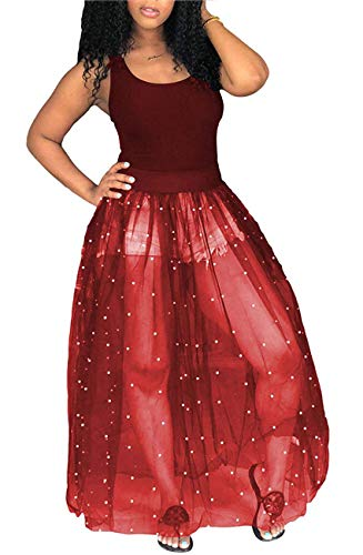 Knight Horse Womens Sexy Beading Black Sheer Skirt Bodycon Clubwear Maxi Dress X-Large Red ()