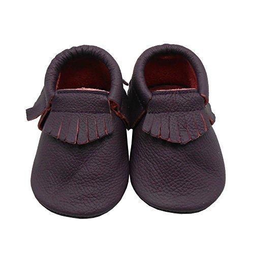 Sayoyo Borlas Suaves Zapatos De Cuero Del Bebé Zapatillas vino tinto
