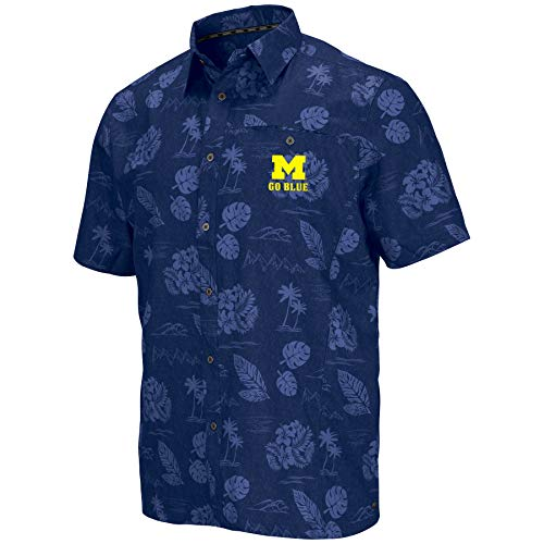 Ncaa Button Down Shirt - Colosseum Men's NCAA -Honolulu Camp-Hawaiian Short Sleeve Vacation Shirt-Michigan Wolverines-XXL