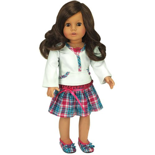 Hot Pink & Teal Skirt & White Lace Trim Top, Fits 18 inch dolls