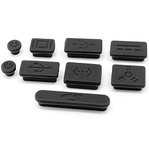 LENTION Silicone Rubber Anti-Dust Port Plugs for MacBook Pro (13-inch, Late 2008 to Mid 2012) and MacBook Pro (15-inch, Late 2008 to Mid 2012)(Black, 9pcs)