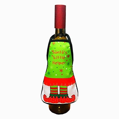 (AMA(TM) Christmas Novelty Wine Bottle Apron Set Santa Claus Bottle Cover Cap Clothes Home Decor (A))