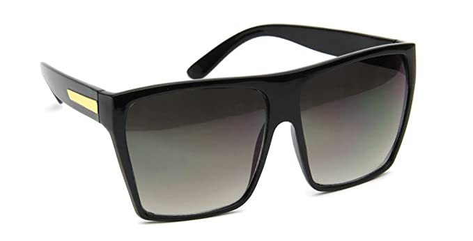 c2c5723298c3 Large Oversize Flat Top Metal Temple Accent Square Sunglasses (Black, UV400)