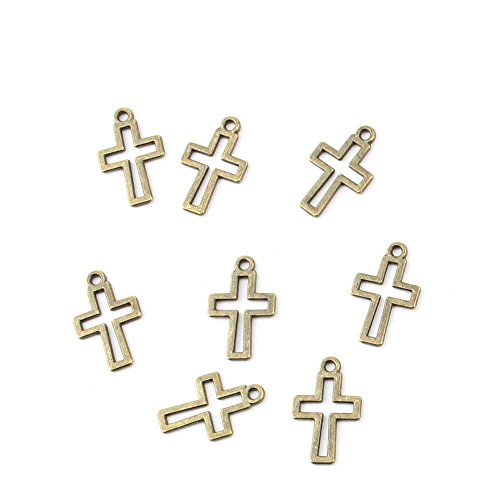 110 pieces Anti-Brass Fashion Jewelry Making Charms 3477 Cross Wholesale Supplies Pendant Craft DIY Vintage Alloys Necklace Bulk Supply Findings (Cross Pendant Craft)