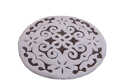 Saffron Fabs Bath Rug 100% Soft Cotton, 36 Inch Round, Damask Pattern, Latex Spray Non-Skid Backing, Grey/White Color, Hand Tufted, Heavy 200 GSF Weight, Machine Washable, Construction
