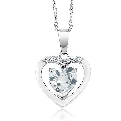 Gem Stone King 10K White Gold 0.72 Ct Sky Blue Aquamarine and Diamond Heart Pendant
